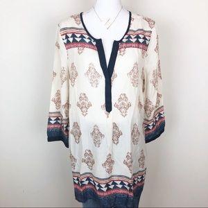 Lucky brand cream Aztec tunic